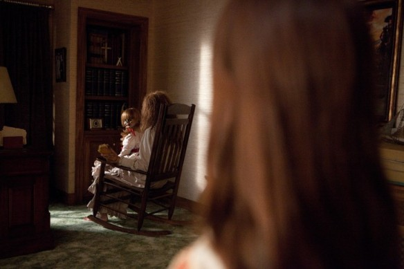 Annabelle. This was one of the creepiest parts in the whole movie for me. This one is much creepier than the real life Annabelle Photo from Box Office Mojo